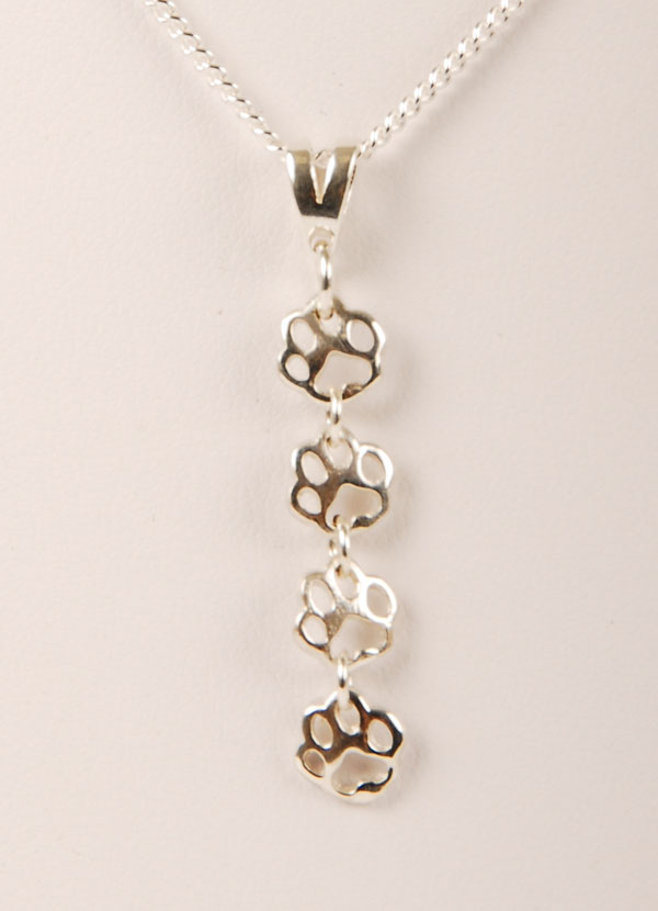 bling lover print pawprints silver necklace pendant dog sterling srn paw animal jewelry